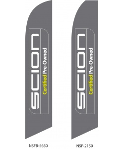 Scion Certified Pre-Owned dealer swooper flags