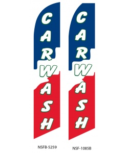 red white blue car wash swooper flag