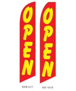 Red yellow OPEN swooper flag banner