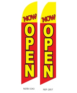 Red yellow now open swooper feather flag sign