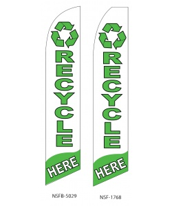 Recycling here swooper feather flag sign banner