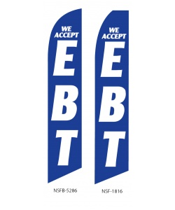 We accept EBT swooper feather flag banner