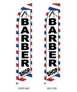 Barber shop swooper feather flag banner
